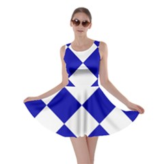 Harlequin Diamond Pattern Cobalt Blue White Skater Dresses