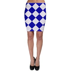 Harlequin Diamond Pattern Cobalt Blue White Bodycon Skirts