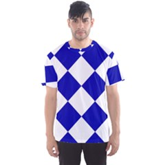 Harlequin Diamond Pattern Cobalt Blue White Men s Sport Mesh Tees