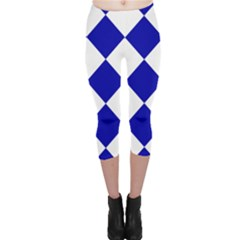 Harlequin Diamond Pattern Cobalt Blue White Capri Leggings