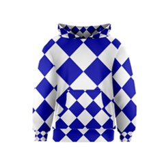 Harlequin Diamond Pattern Cobalt Blue White Kid s Pullover Hoodies