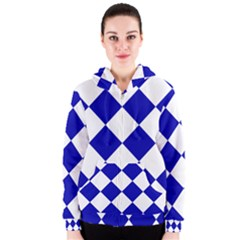 Harlequin Diamond Pattern Cobalt Blue White Women s Zipper Hoodies
