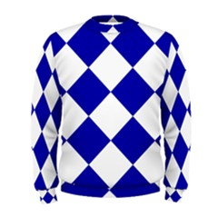 Harlequin Diamond Pattern Cobalt Blue White Men s Sweatshirts