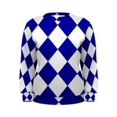 Harlequin Diamond Pattern Cobalt Blue White Women s Sweatshirts