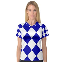 Harlequin Diamond Pattern Cobalt Blue White Women s V Neck Sport Mesh Tee