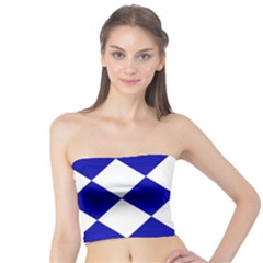 Harlequin Diamond Pattern Cobalt Blue White Women s Tube Tops