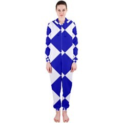 Harlequin Diamond Pattern Cobalt Blue White Hooded Jumpsuit (Ladies)
