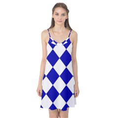 Harlequin Diamond Pattern Cobalt Blue White Camis Nightgown