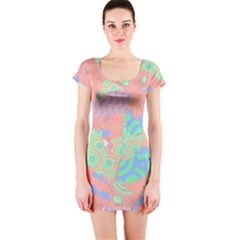 Tropical Summer Fruit Salad Short Sleeve Bodycon Dress
