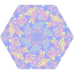 Girls Bright Pastel Abstract Blue Pink Green Mini Folding Umbrella