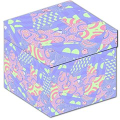 Girls Bright Pastel Abstract Blue Pink Green Storage Stool 12