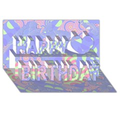 Girls Bright Pastel Abstract Blue Pink Green Happy Birthday 3d Greeting Card (8x4)