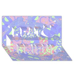 Girls Bright Pastel Abstract Blue Pink Green Best Friends 3d Greeting Card (8x4)
