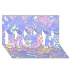 Girls Bright Pastel Abstract Blue Pink Green MOM 3D Greeting Card (8x4)