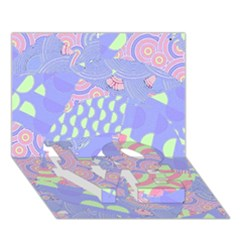 Girls Bright Pastel Abstract Blue Pink Green LOVE Bottom 3D Greeting Card (7x5)