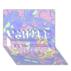 Girls Bright Pastel Abstract Blue Pink Green You Are Invited 3d Greeting Card (7x5)