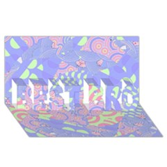 Girls Bright Pastel Abstract Blue Pink Green BEST BRO 3D Greeting Card (8x4)