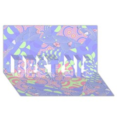 Girls Bright Pastel Abstract Blue Pink Green Best Sis 3d Greeting Card (8x4)