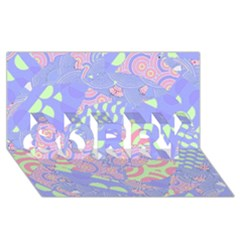 Girls Bright Pastel Abstract Blue Pink Green SORRY 3D Greeting Card (8x4)