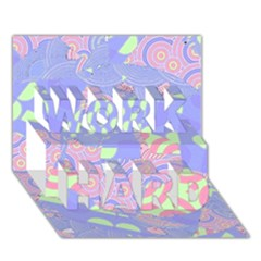 Girls Bright Pastel Abstract Blue Pink Green Work Hard 3d Greeting Card (7x5)