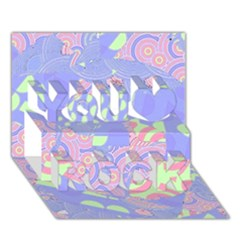 Girls Bright Pastel Abstract Blue Pink Green You Rock 3d Greeting Card (7x5)