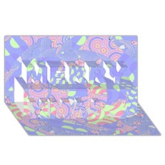 Girls Bright Pastel Abstract Blue Pink Green Merry Xmas 3d Greeting Card (8x4)