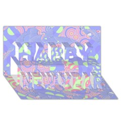Girls Bright Pastel Abstract Blue Pink Green Happy New Year 3D Greeting Card (8x4)