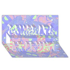 Girls Bright Pastel Abstract Blue Pink Green Congrats Graduate 3d Greeting Card (8x4)