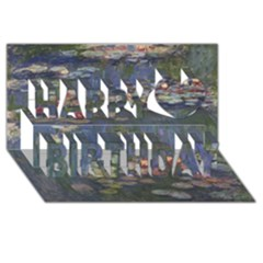 Claude Monet   Water Lilies Happy Birthday 3D Greeting Card (8x4)