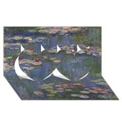 Claude Monet   Water Lilies Twin Hearts 3D Greeting Card (8x4)