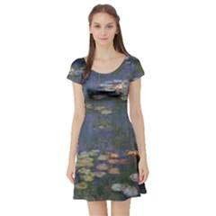 Claude Monet   Water Lilies Short Sleeve Skater Dresses