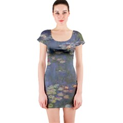 Claude Monet   Water Lilies Short Sleeve Bodycon Dresses