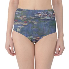 Claude Monet   Water Lilies High-Waist Bikini Bottoms