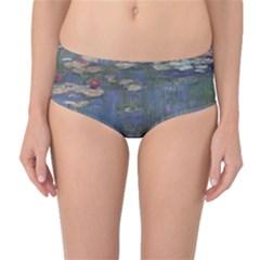 Claude Monet   Water Lilies Mid Waist Bikini Bottoms