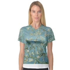 Almond Blossom Tree Women s V-Neck Sport Mesh Tee