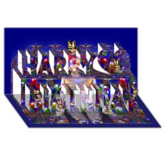 Robot Butterfly Happy Birthday 3d Greeting Card (8x4)