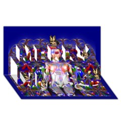 Robot Butterfly Merry Xmas 3D Greeting Card (8x4)