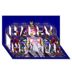 Robot Butterfly Happy New Year 3D Greeting Card (8x4)