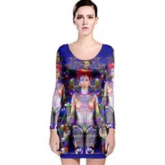 Robot Butterfly Long Sleeve Bodycon Dresses