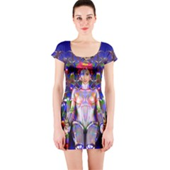 Robot Butterfly Short Sleeve Bodycon Dresses