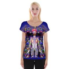 Robot Butterfly Women s Cap Sleeve Top