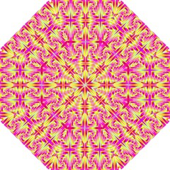 Pink and Yellow Rave Pattern Hook Handle Umbrellas (Small)