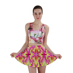Pink and Yellow Rave Pattern Mini Skirts