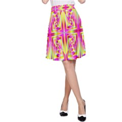 Pink and Yellow Rave Pattern A-Line Skirts