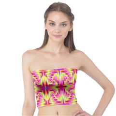 Pink and Yellow Rave Pattern Women s Tube Tops