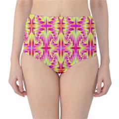 Pink and Yellow Rave Pattern High-Waist Bikini Bottoms
