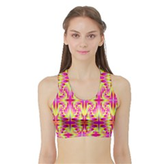 Pink and Yellow Rave Pattern Women s Sports Bra with Border