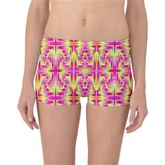 Pink And Yellow Rave Pattern Reversible Boyleg Bikini Bottoms