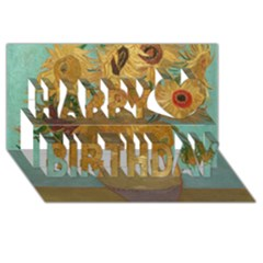 Vincent Willem Van Gogh, Dutch   Sunflowers   Google Art Project Happy Birthday 3D Greeting Card (8x4)
