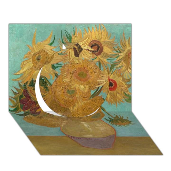 Vincent Willem Van Gogh, Dutch   Sunflowers   Google Art Project Circle 3D Greeting Card (7x5)